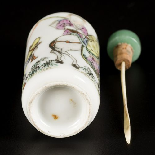 A porcelain snuff bottle with decoration of a sage on a donkey, China, 19th cent…