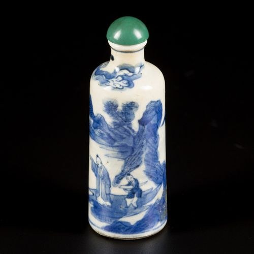 A softpaste snuff bottle with decor of scholar in a landscape, China, 19th centu…