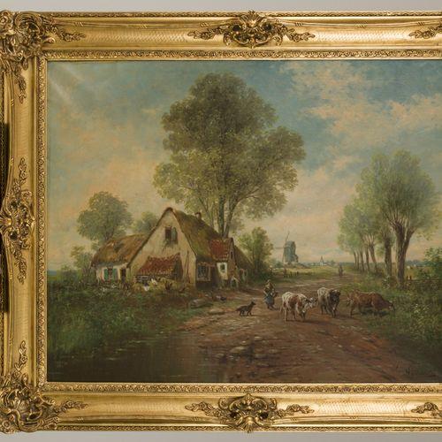 'Paul' Henry Schouten (Paris, 1860 1922 Watermaal Bosvoorde), A cow herd with ca…