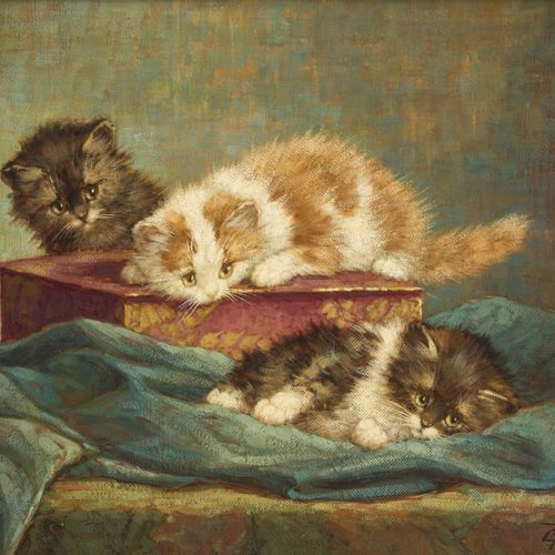 Cornelis Raaphorst (Nieuwkoop 1875 1964 Wassenaar), Kittens playing on a Japanes…