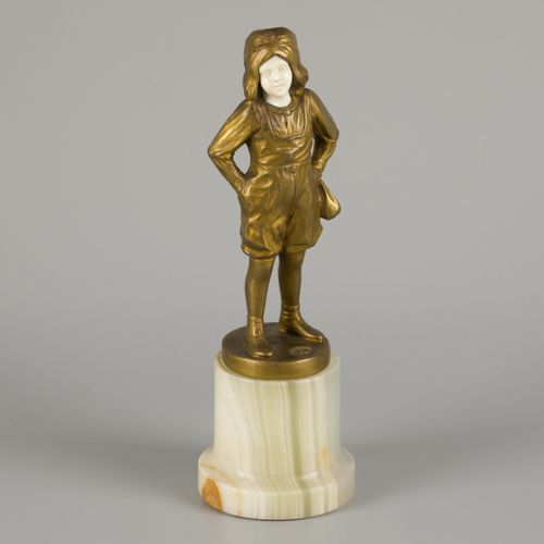B. Grundmann (XIX XX), a bronze statuette of a young boy playing with marbles, G…