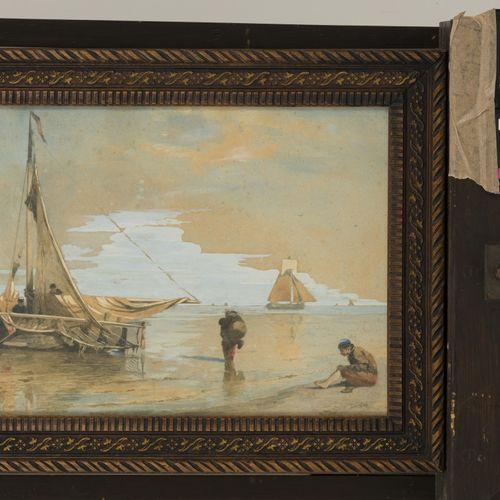 W.A. Van Deventer (Den Haag 1824 1893), Fishermen at the waterfront. 有签名(右下),纸上水…