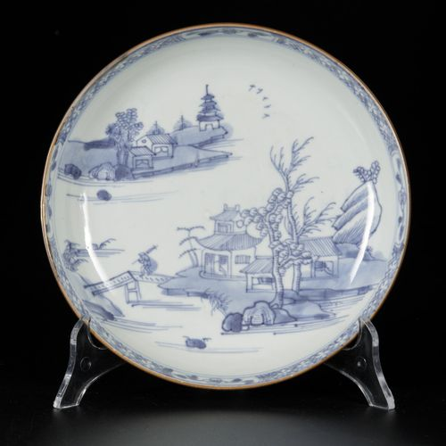 A set of (4) porcelain plates with landscape decor, China, Qianglong. Diam. 20,5…