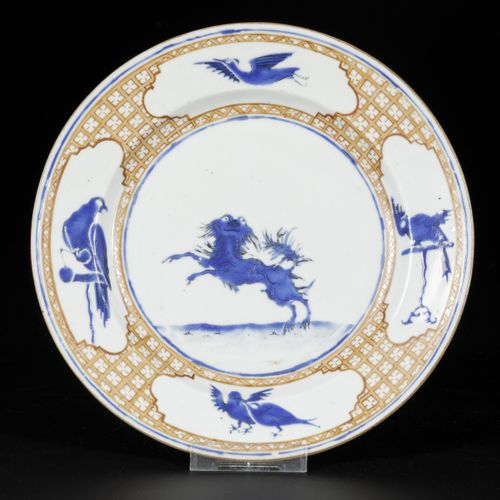 """A porcelain plate """"The Leaping Pekinese"""", based on a design by Cornelis Pronk, C…"""