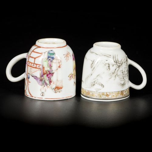 A lot comprising (2) porcelain cups with handle, with grisaille landscape and fi…