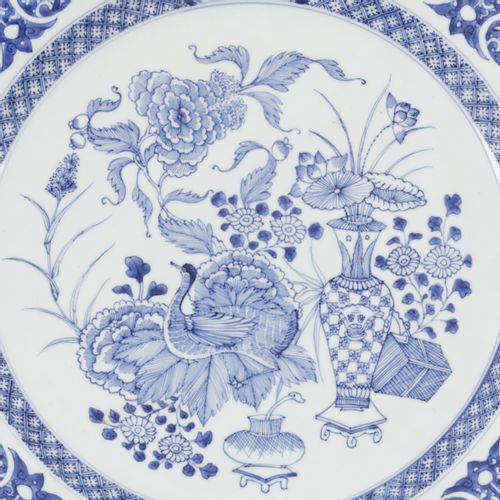 A porcelain charger with decoration of antiques and flowers, China, Yongzheng/Qi…