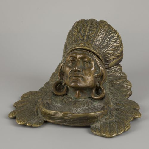 A bronze inkwell in the shape of an Indian chief head, United States, 1st quarte…