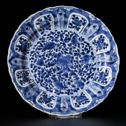 A lot comprised of (2) porcelain plates with floral decoration, China, Kangxi. D…