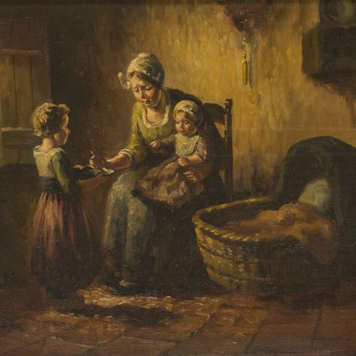 Dutch School, first quarter 20th C. An interior with mother and children. Signé …
