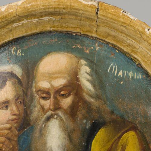 A Greek tondo depicting St. Mathew writing the gospel, 18th C. Or earlier. Diam.…