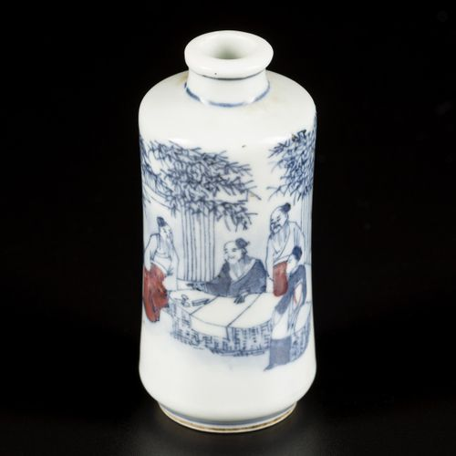 A porcelain iron red snuff bottle decorated with 7 immortals in a bamboo grove, …