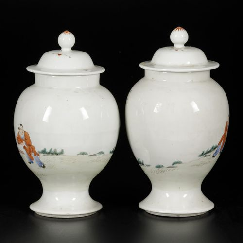 A set of (2) lidded vases with famille rose decor, marked Qianglong, China, 20th…