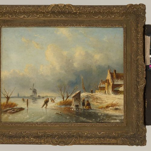 Albert Jurardus van Prooijen (Groningen 1834 1898 Amsterdam), Skaters on the ice…
