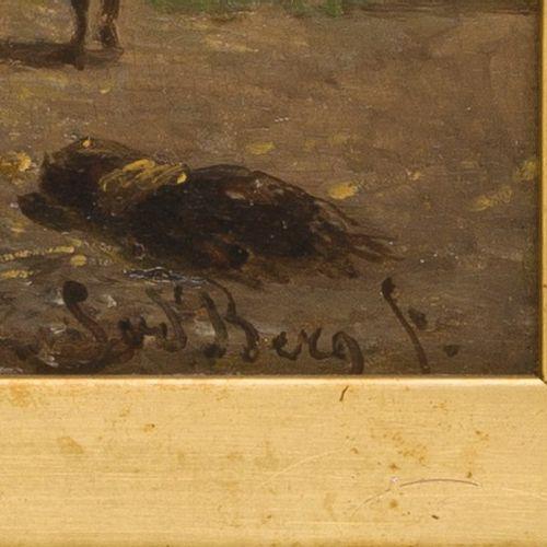Simon van den Berg (Overschie 1812 1891 Arnhem), Goats and chicken by a stable. …
