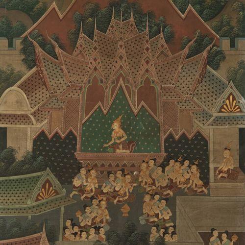 School of Laos, 20th C. A court scène. 画布上的钢笔画。Dim.190 x 100厘米。估计:100 150欧元。