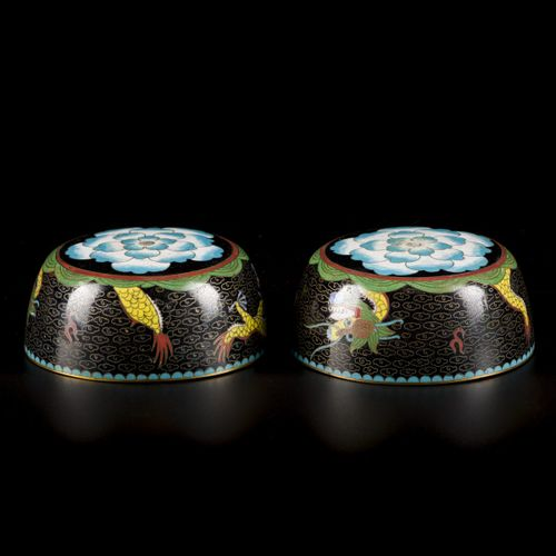 A set of (2) cloisonne bowls decorated with dragons, China, late 19th century. D…