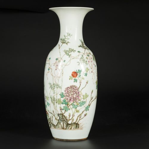 A porcelain collar vase with famille rose decoration, China, late 19th century. …