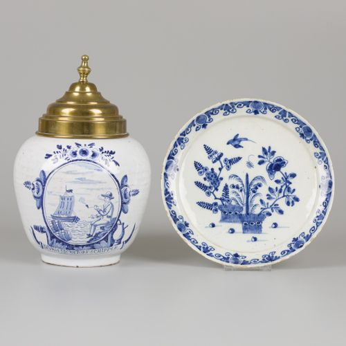 A lot comprising various pottery a.W. A plate with floral decoration and a tobac…
