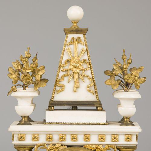 A firegilt and marble Louis XVI style column pendulum, France, mid. 19th century…