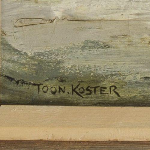 Toon Koster (Schiedam 1913 1989), A winter landscape at night. Signé (en bas à g…