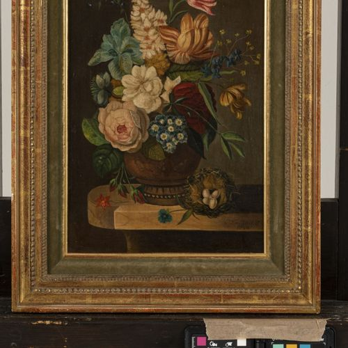 """Bears signature """"P.T. Van Brussel"""", A still life with flowers on a marble plinth…"""
