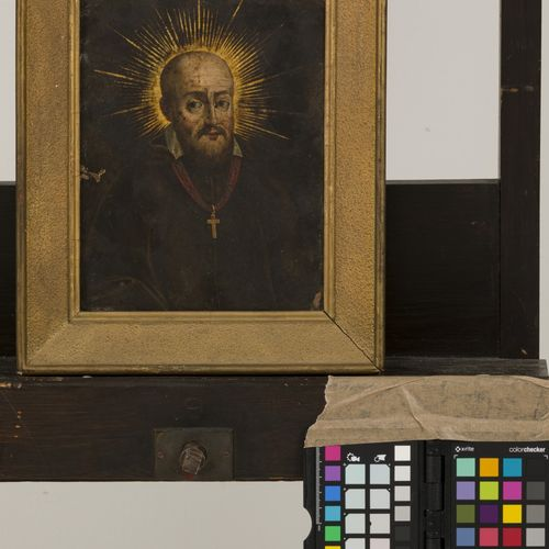 Northern European School, 18th Century. Portrait clergyman. Huile sur cuivre. Di…