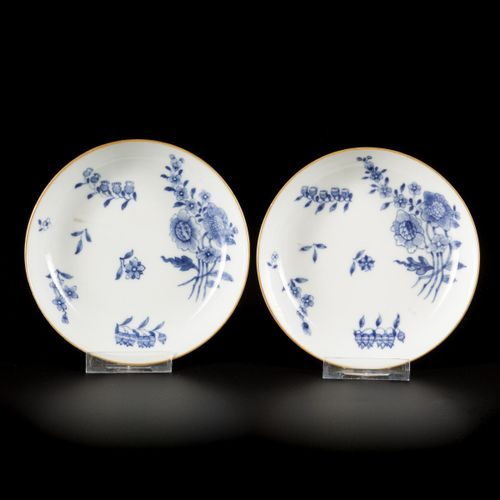 A set of (2) porcelain deep plates with matching bowls with floral decoration, C…