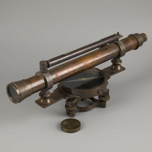 "A brass ""Carl Hensoldt"" surveyors' spirit level instrument (transit/ theodolite)…"