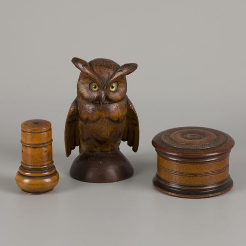 A (3) part lot treenware comprising a turned inkwell, an owl inkwell, and a lidd…