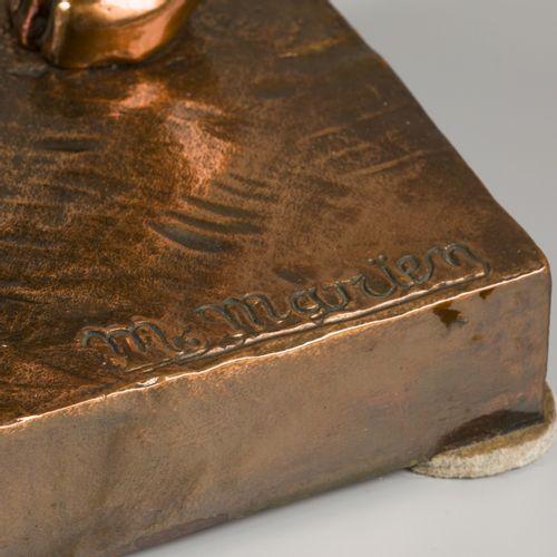 M. Marïen (XX), A bronze sculpture of a tiger/ feline, 2nd half 20th century. Si…