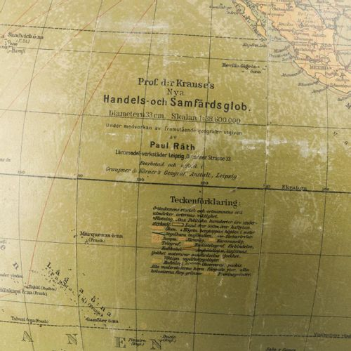 """A Danish """"Dr. Kause"""" terrestial globe on turned wooden stand, 1st half 20th cent…"""
