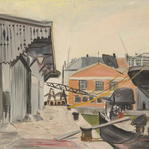 Bitia Rosendor (Jerusalem ? 2013 Brussels), View of the Docks, Antwerp; Elderly …