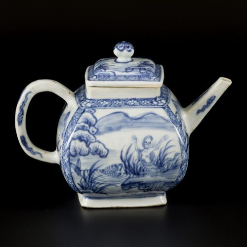 A porcelain teapot with decor of a mermaid and carp in a lake, China, 18th centu…