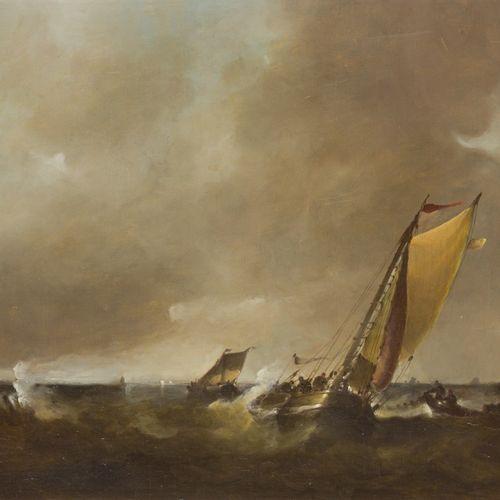Frans J. Van der Heide (Schiedam 1936 ?), Shipping on a rough. Signé (en bas à g…