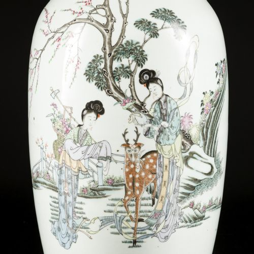 A porcelain Qianjiang Cai vase with decoration of Chinese figures in a landscape…