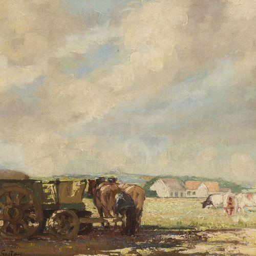 Gustave Facq / Fack (Doornik 1902 1971), A horse drawn cart in a meadow landscap…