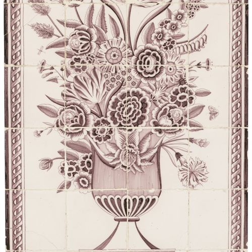 A manganese tile scene depiciting flowers in a vase, Dutch, early 19th century. …