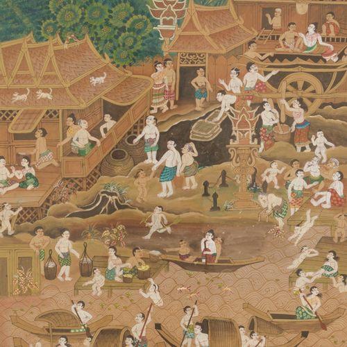 School of Laos, 20th C. A village scene. Tempera sur toile, Dim. 78 x 54 cm. Est…