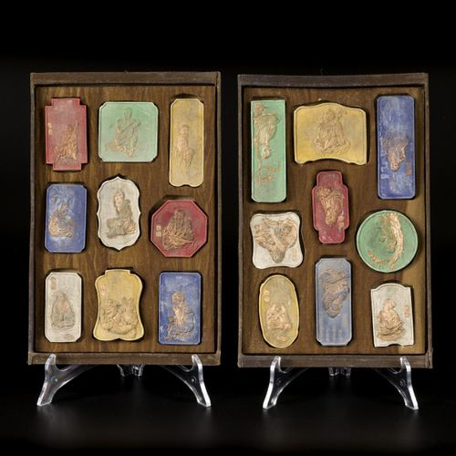 """Qing Chinese Ink Blocks Cakes of the 18 """"Luohan"""" Buddha's Disciples, in box, 1st…"""