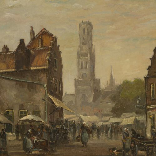Gerard Wiegman (Rotterdam 1875 1994 Schiedam) A market in a town square with the…