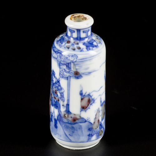 A set of (2) porcelain iron red snuff bottles decorated with court scene, marked…