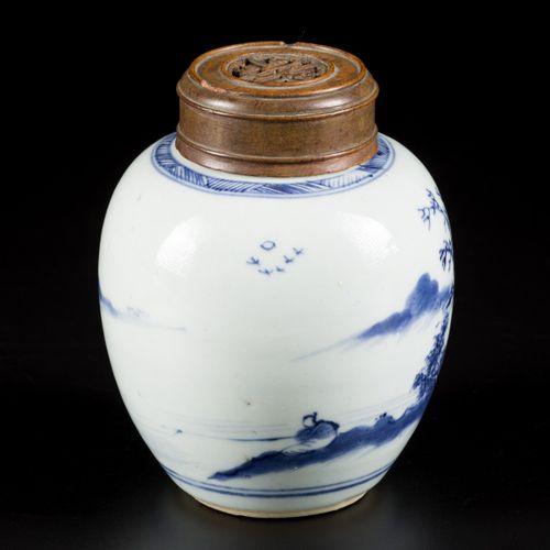 A porcelain ginger jar with landscape decor.,China, 18th century. Dim. 14 x 12 c…