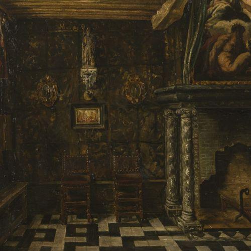 Attributed to Henri de Braekeleer (Antwerpen 1840 1888), Flemmish interior with …