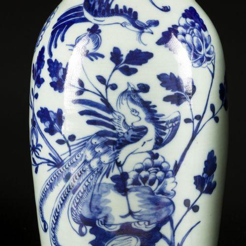 A set of (2) porcelain baluster vases with celadon fond and floral decoration, C…
