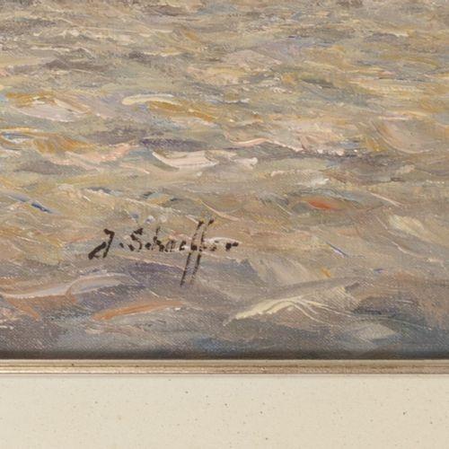Jan Schaeffer (Rotterdam 1923 2018), Shipping in Rotterdam harbour. Signé (en ba…