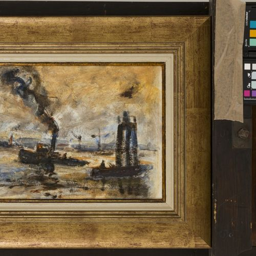 Toon Koster (Schiedam 1913 1989), Steam tug with a ducdalf. 签名(左下角),油画板,尺寸。25 x …