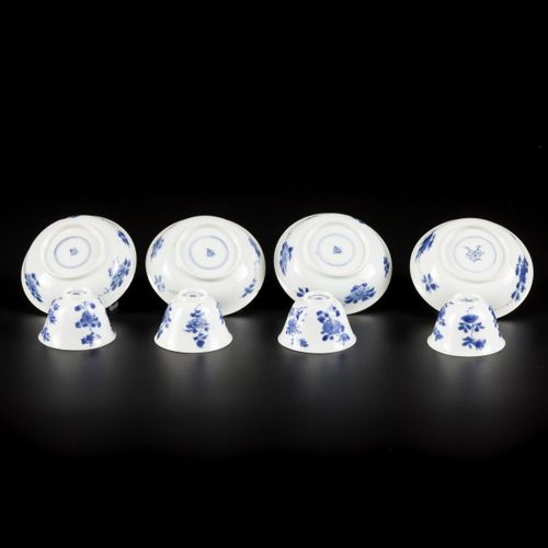 A set of (4) porcelain miniature cups and saucers with floral decoration, China,…
