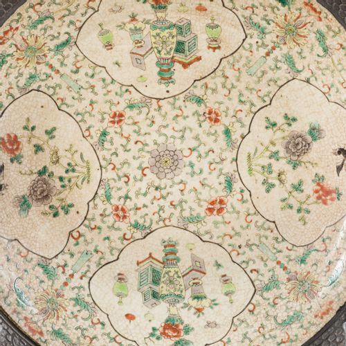 A charger in Nanking earthenware with famille verte decor, China, 19th century. …