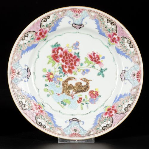 A set of (2) porcelain famille rose plates with birds on leaf decor, China, 18th…