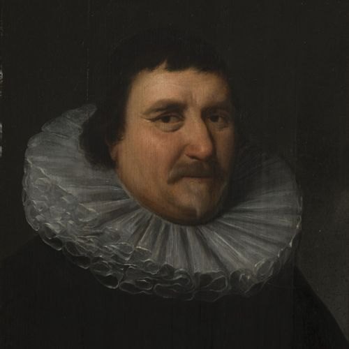 Circle of Michiel van Mierevelt, 17th C. Portrait of a man in a ruff (millstone …